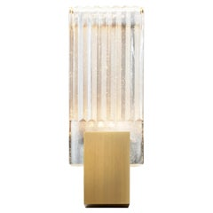 HOLLY HUNT Pleated LED Glass Sconce with Golden Bronze Patina Finish