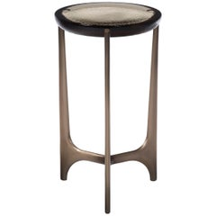 HOLLY HUNT Portia Drink Table with Fog Cast Glass Top and Light Bronze Base