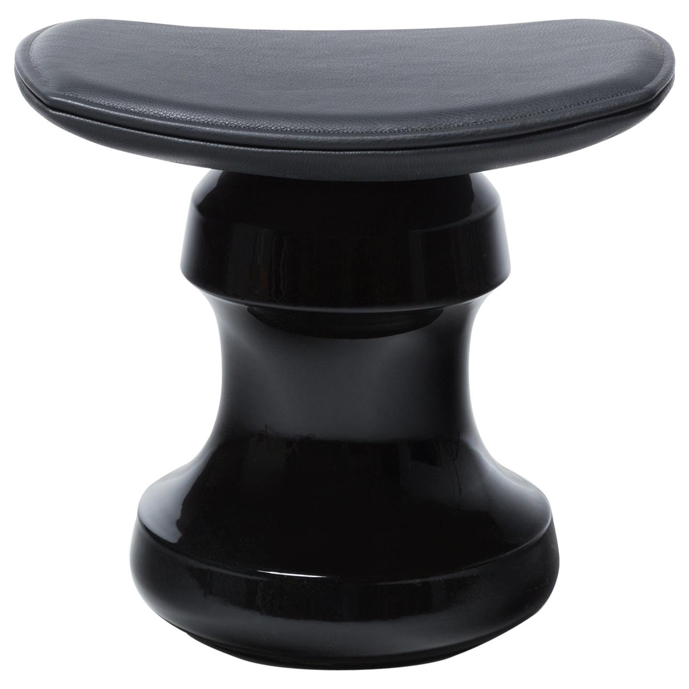 HOLLY HUNT ROI Stool in Black Ceramic Base & Black Leather Seat
