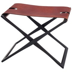 HOLLY HUNT Rover Folding Stool in Anodized Aluminium and Cordovan Rover Leather