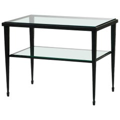 HOLLY HUNT Rue De Seine End Table in Hand Forged Iron Base with Glass Top