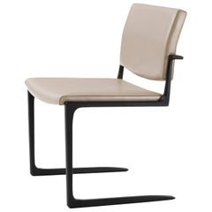 Holly Hunt Shadow Dining Chair in Aluminum Frame with Leather Upholstered Seat