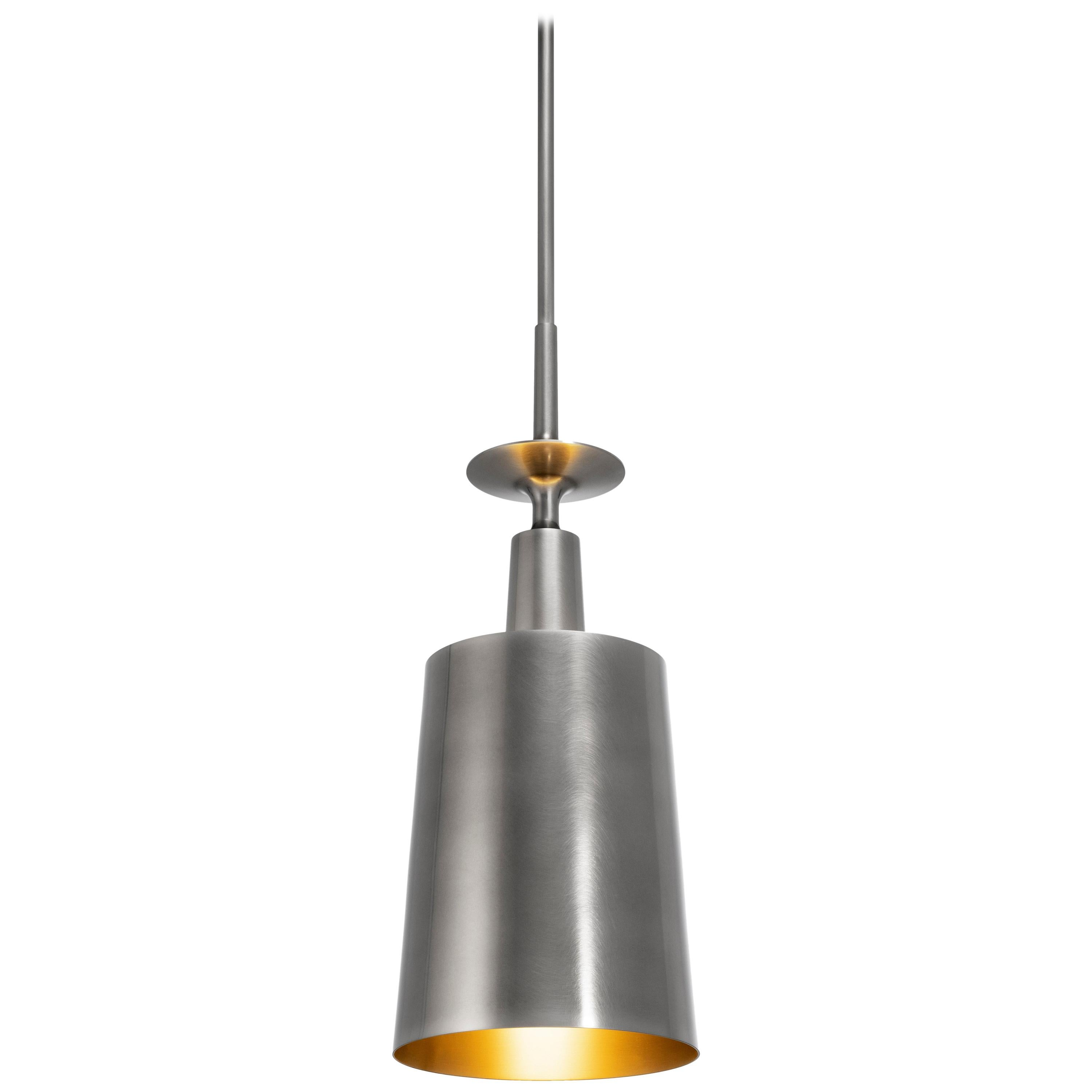 HOLLY HUNT Summit Pendant with Aged Nickel and Golden Bronze Interior Finish