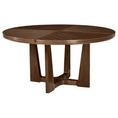 HOLLY HUNT Trice Round Dining Table in Walnut Dusk Finish
