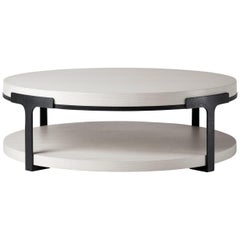 HOLLY HUNT Tudor Round Cocktail Table with Oak Alpine Top and Metal Base