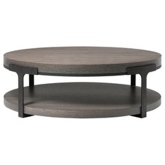 HOLLY HUNT Tudor Round Cocktail Table with Oak Top and Metal Base