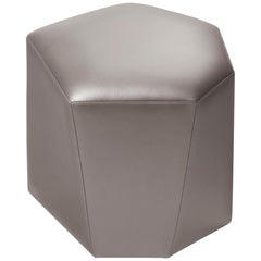 HOLLY HUNT Vrille Ottoman in Argento Leather