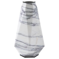HOLLY HUNT Warrior Large Slovenia Marble & Stainless Steel Vase by Eva Fehren