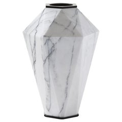 HOLLY HUNT Warrior Medium Slovenia Marble & Stainless Steel Vase by Eva Fehren