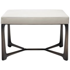 HOLLY HUNT XY Size 2 Bench in Light Bronze Patina with Beige Leather Seat