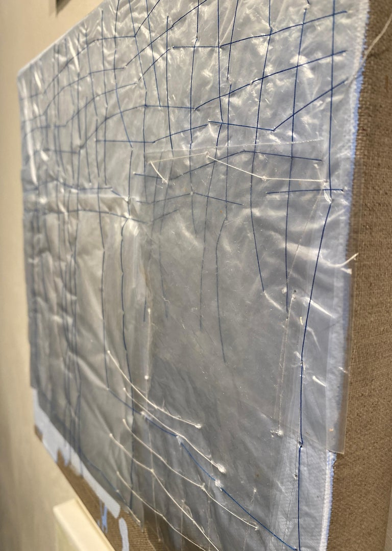 Holly Miller utilizes unconventional and often cast aside materials to create painting that are architectural in nature. This painting incorporates plastic bags, thread, and acrylic to create a three-dimensional surface.  12 x 12 inches  New York