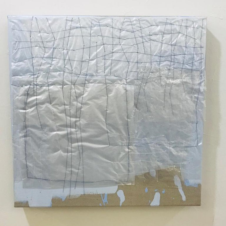 Holly Miller Abstract Painting - Nuvola- abstract painting, mixed media,with plastic bags, acrylic on linen