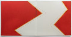 Shake #1 - abstract diptych painting in red and white by Holly Miller