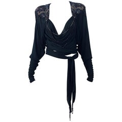Holly's Harp Late 1970s Black Silk Jersey Beaded Vintage 70s Wrap Crop Top Shirt