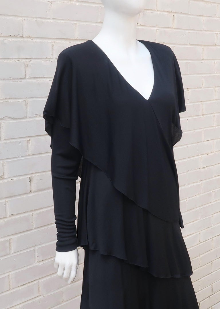 Holly's Harp Tiered Black Silk Jersey Cocktail Dress, C.1980  For Sale 6