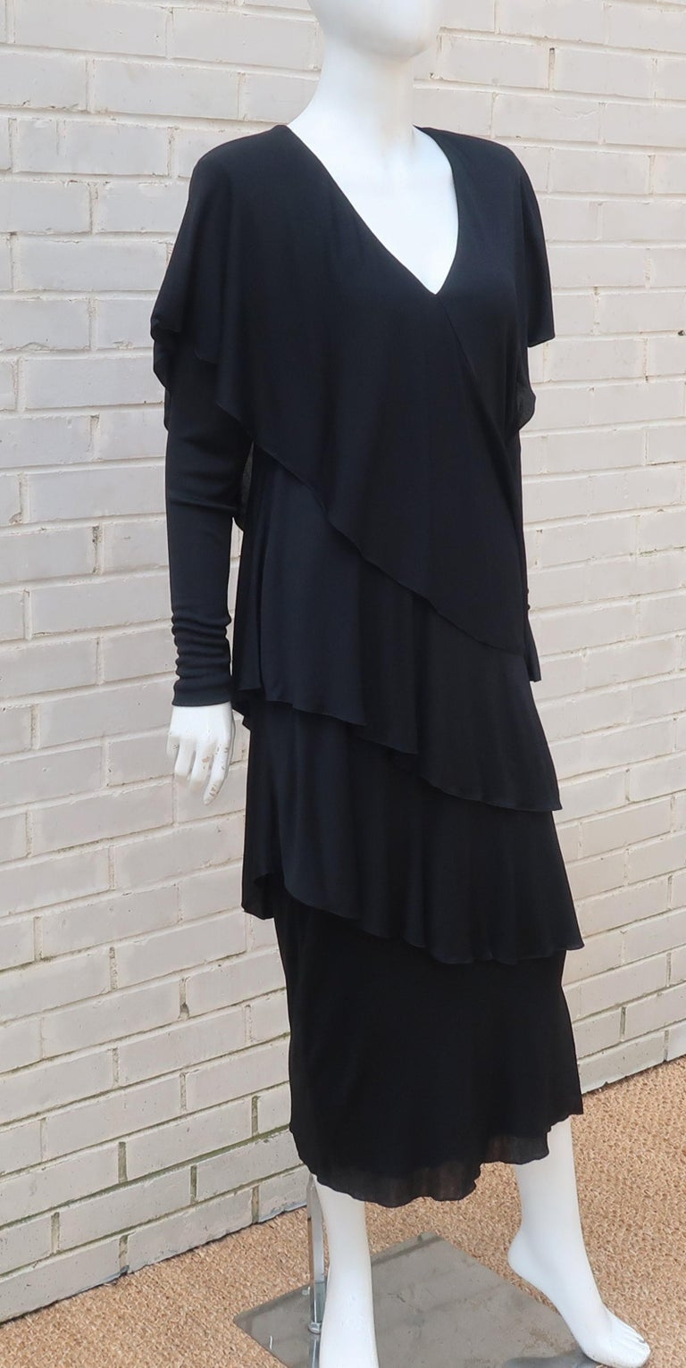 Holly's Harp Tiered Black Silk Jersey Cocktail Dress, C.1980  For Sale 7