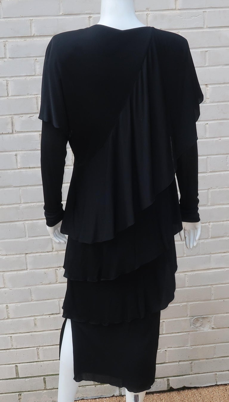 Holly's Harp Tiered Black Silk Jersey Cocktail Dress, C.1980  For Sale 8