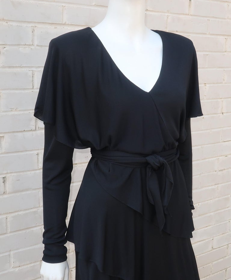 Holly's Harp Tiered Black Silk Jersey Cocktail Dress, C.1980  In Good Condition For Sale In Atlanta, GA