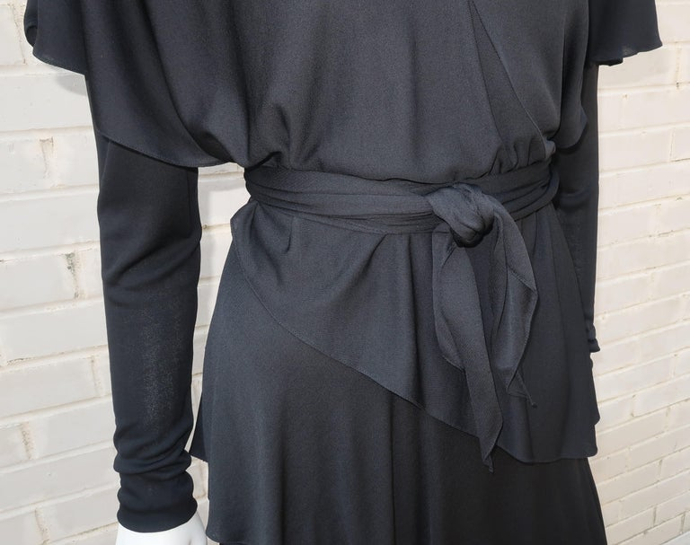 Women's Holly's Harp Tiered Black Silk Jersey Cocktail Dress, C.1980  For Sale