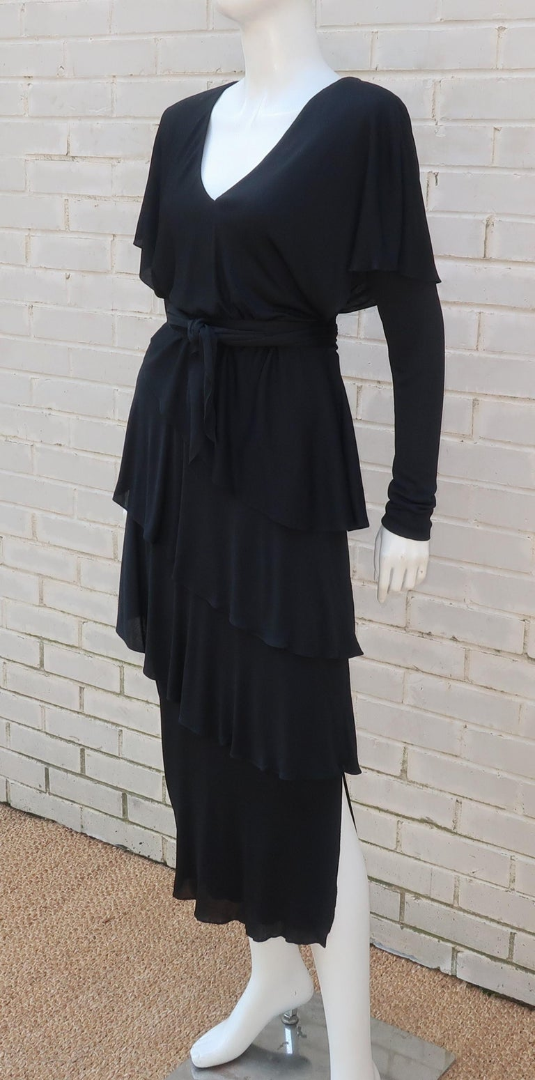 Holly's Harp Tiered Black Silk Jersey Cocktail Dress, C.1980  For Sale 1