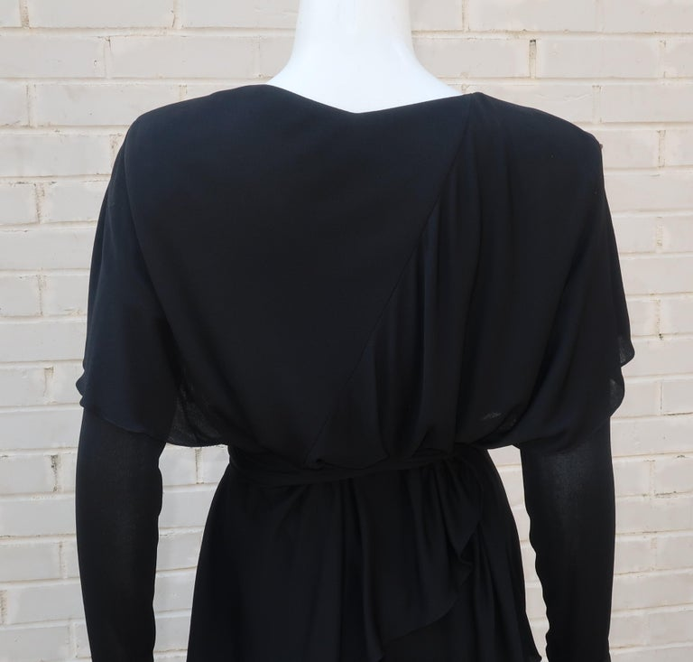 Holly's Harp Tiered Black Silk Jersey Cocktail Dress, C.1980  For Sale 2