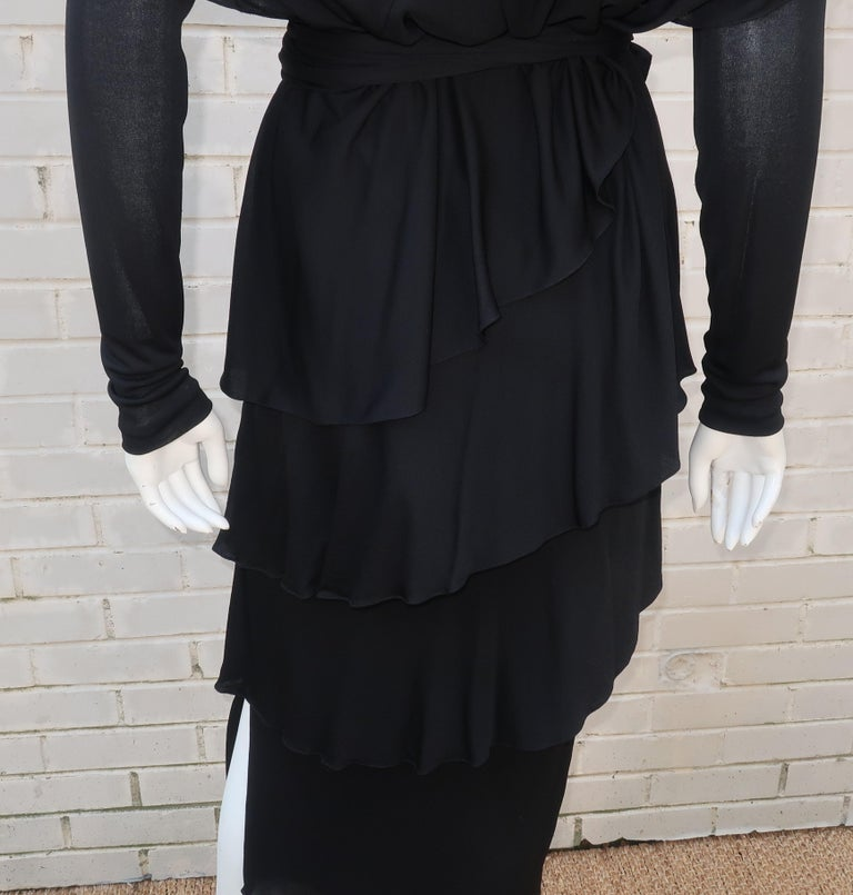 Holly's Harp Tiered Black Silk Jersey Cocktail Dress, C.1980  For Sale 3
