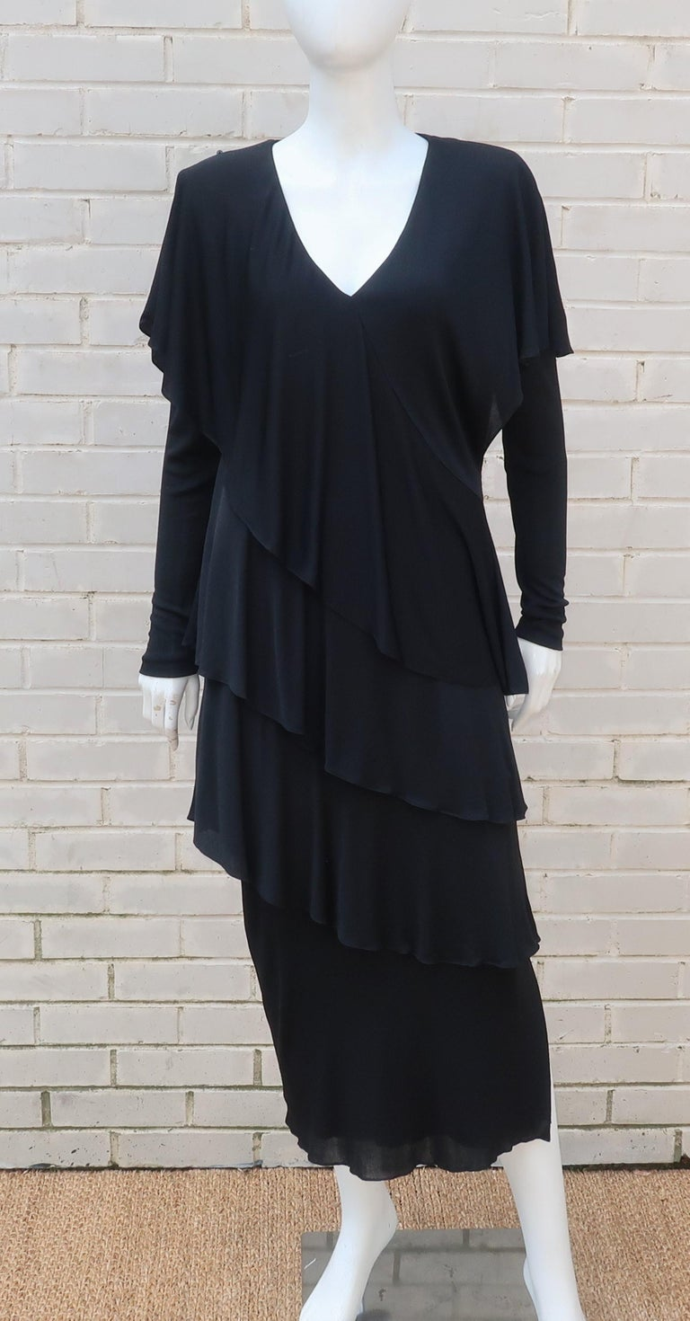 Holly's Harp Tiered Black Silk Jersey Cocktail Dress, C.1980  For Sale 4