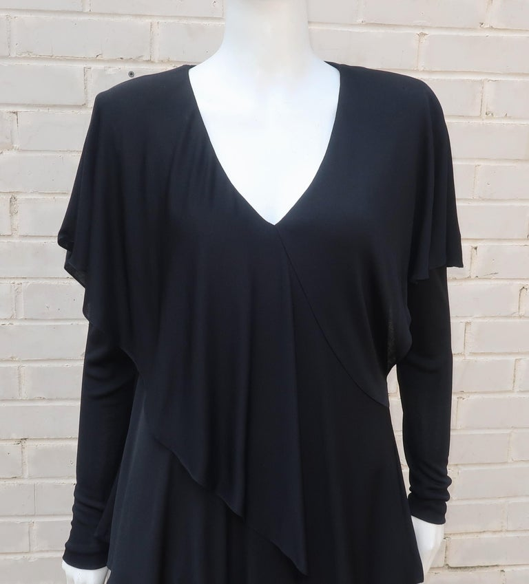 Holly's Harp Tiered Black Silk Jersey Cocktail Dress, C.1980  For Sale 5