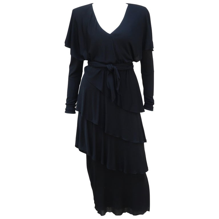 Holly's Harp Tiered Black Silk Jersey Cocktail Dress, C.1980  For Sale