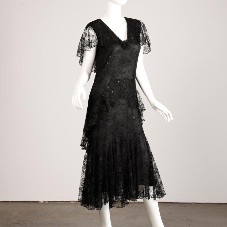 Women's Holly's Harp Vintage Black Lace Flapper Dress For Sale