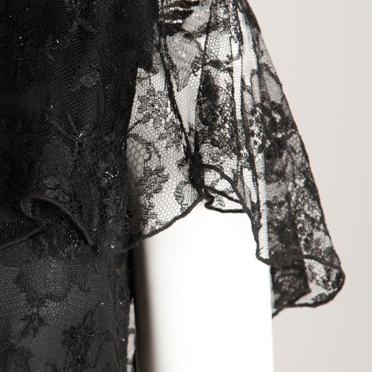 Holly's Harp Vintage Black Lace Flapper Dress For Sale 1