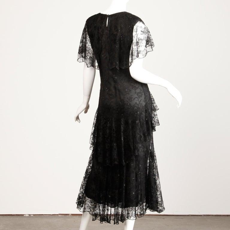 Holly's Harp Vintage Black Lace Flapper Dress For Sale 2