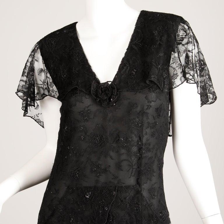 Holly's Harp Vintage Black Lace Flapper Dress For Sale 3
