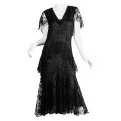 Holly's Harp Vintage Black Lace Flapper Dress