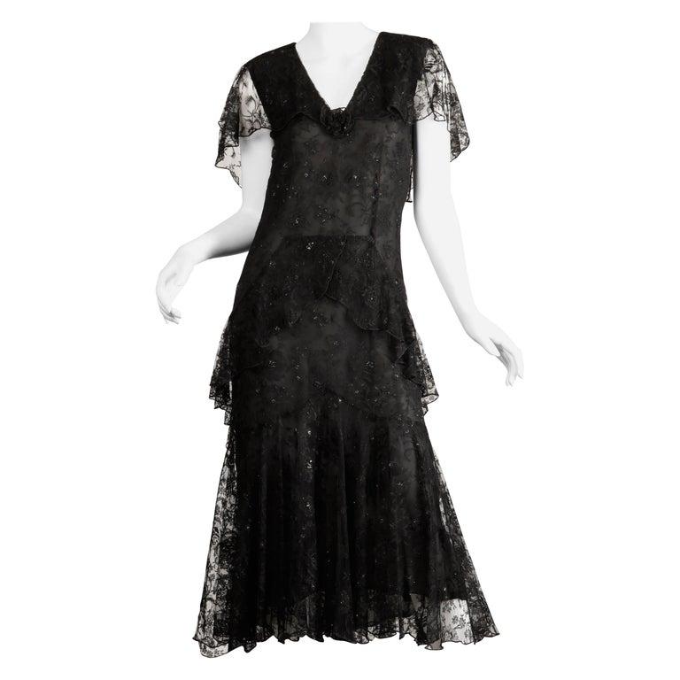 Holly's Harp Vintage Black Lace Flapper Dress For Sale