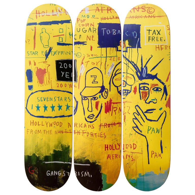 Hollywood Africans Skateboard Decks after Jean-Michel Basquiat In New Condition For Sale In Jersey City, NJ