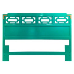 Hollywood Glam Lacquered Green Wood with Brass Accents Queen Fretwork Headboard