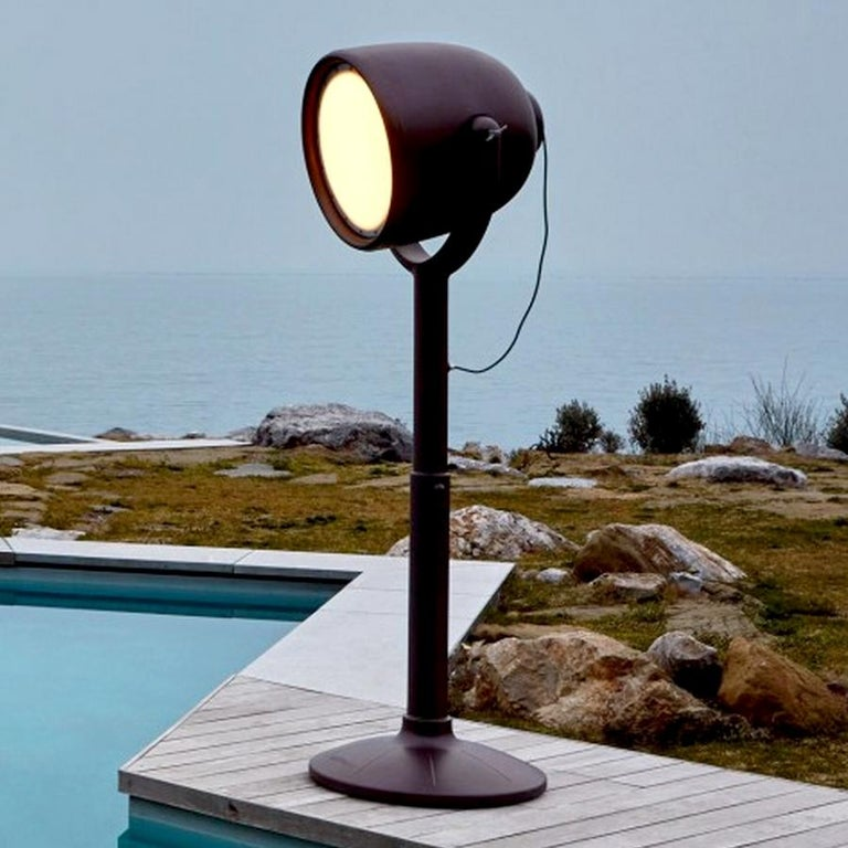 Italian Hollywood Brown Outdoor Dimmable Floor Lamp by BrogliatoTraverso, Made in Italy For Sale