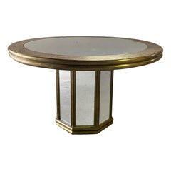 Hollywood Recency Brass & Mirror Glass Dining Table/Lobby Table, 80's Gony Nava