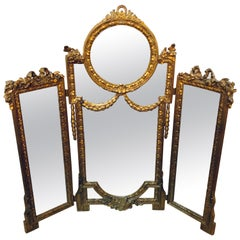 Hollywood Regency 1940s Louis XVI Style Gilt wood Trifold Vanity or Table Mirror