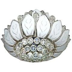 Hollywood Regency 2-Tier Crystal/Chrome/Art Glass Sun Flower 12-Light Chandelier