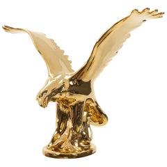 Hollywood Regency 24-Carat Gold Porcelain Eagle, Italy, 1980s