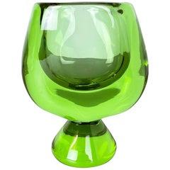"""Hollywood Regency 5,75kg Crystal Glass """"2 Color"""" Object Vase Sevres France 1960s"""