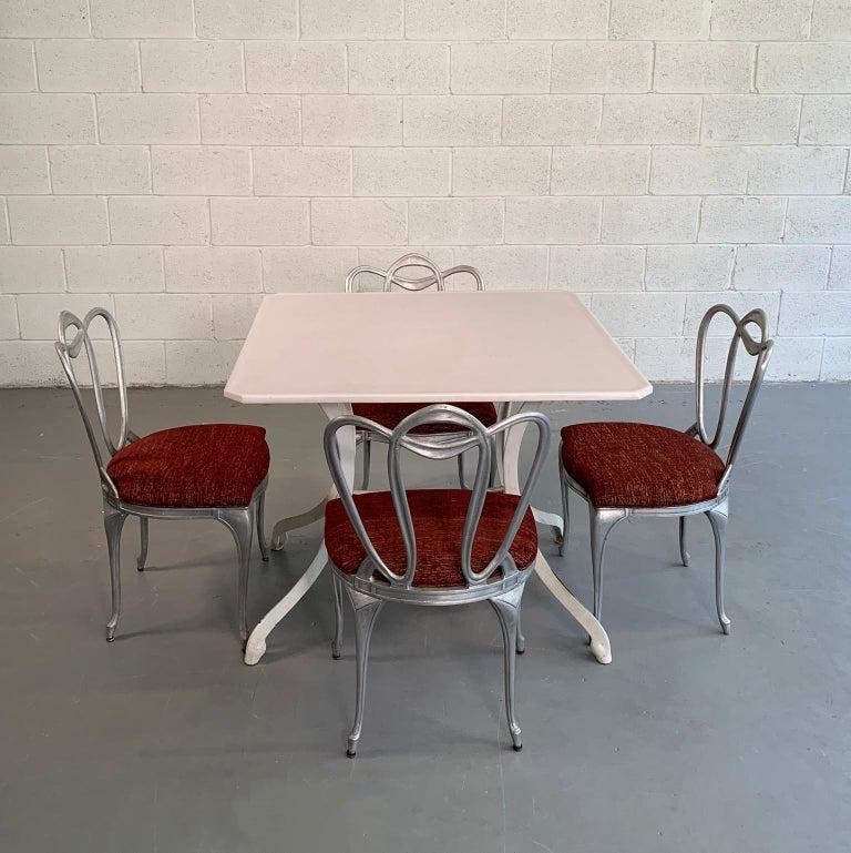 Cast Hollywood Regency Aluminum Chair Set For Sale