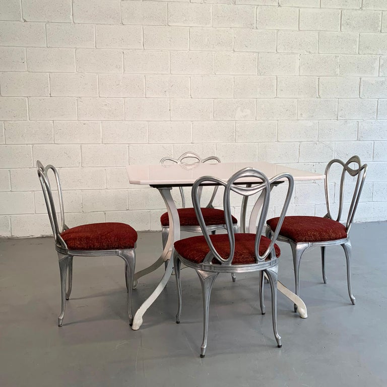 Mid-20th Century Hollywood Regency Aluminum Chair Set For Sale