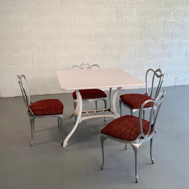 Hollywood Regency Aluminum Chair Set For Sale 1