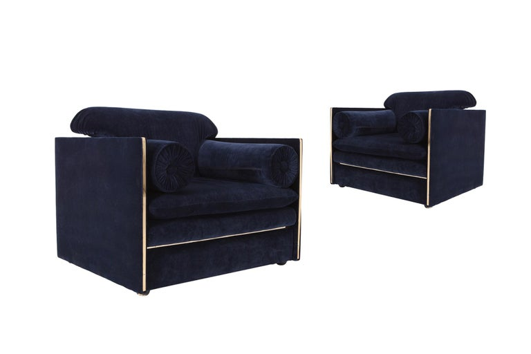 Hollywood Regency Hollywood regency Armchairs in Dark Blue Velvet and Brass For Sale