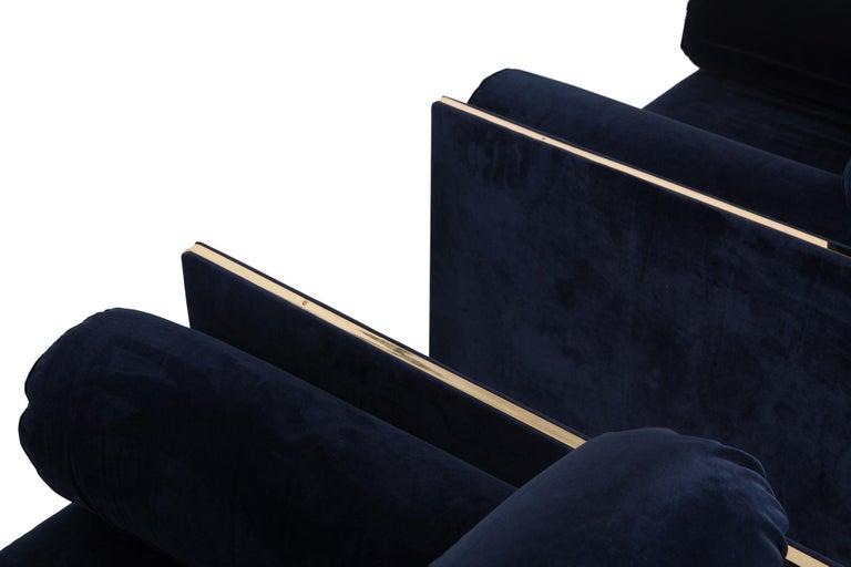 Italian Hollywood regency Armchairs in Dark Blue Velvet and Brass For Sale