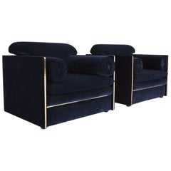 Hollywood regency Armchairs in Dark Blue Velvet and Brass