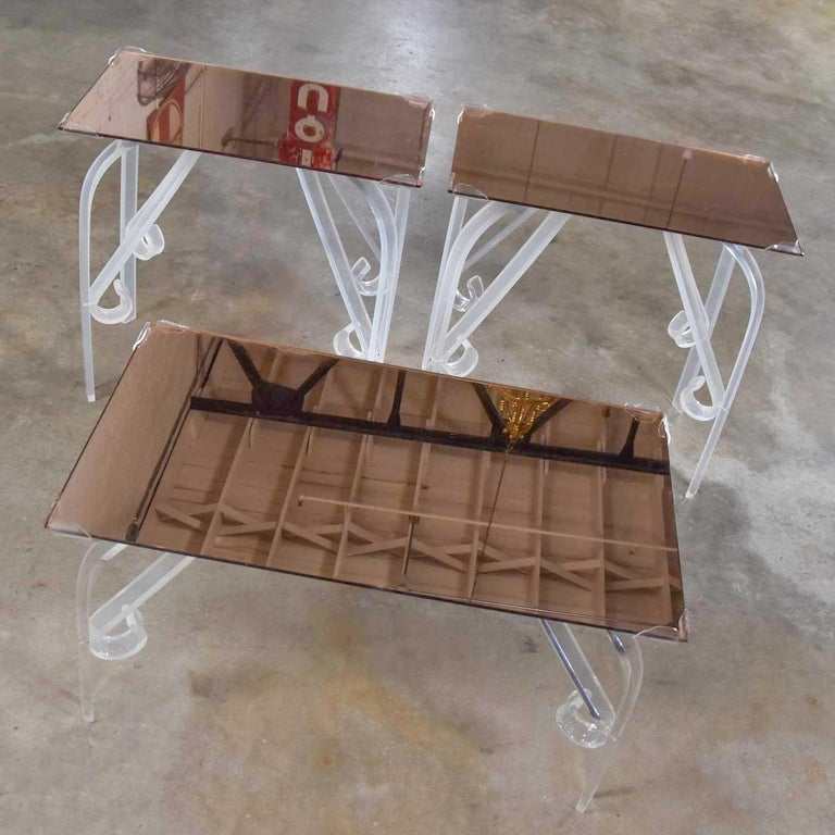 Unknown Hollywood Regency Art Deco Lucite & Rose Mirrored Tables a Set 1 Coffee & 2 End  For Sale